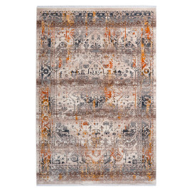Tapis avec franges taupe rectangle vintage Hedmark