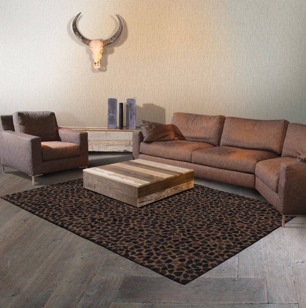 tapis marron en cuir et coton pioneer arte espina. Black Bedroom Furniture Sets. Home Design Ideas