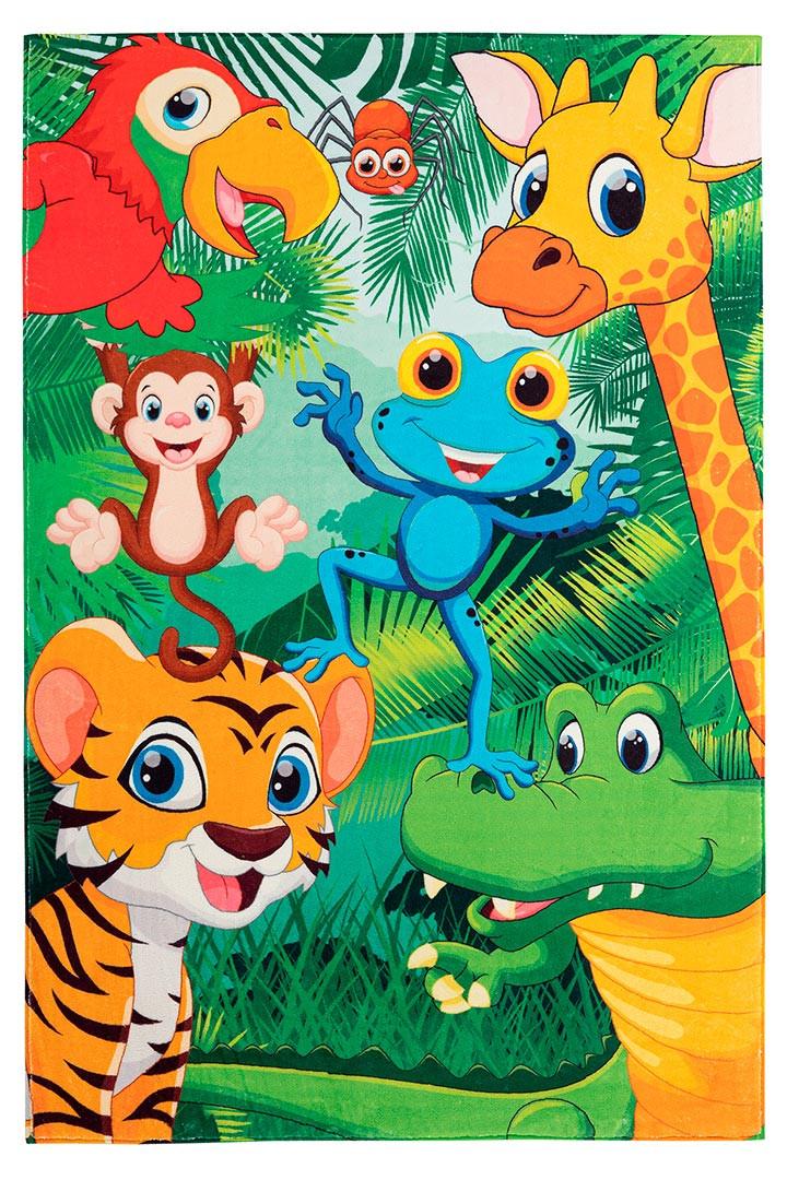 Tapis de chambre enfant multicolore rectangle Mini Jungle