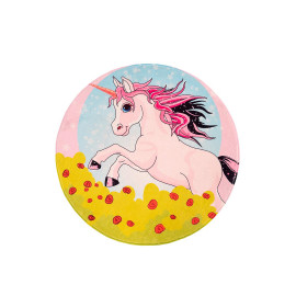 Tapis rond pour fille multicolore polyester Eglantine