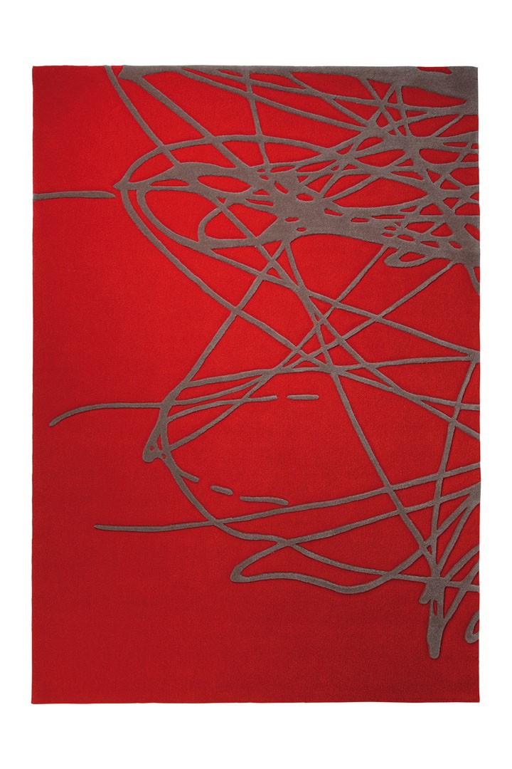 Tapis en laine de Nouvelle-Zélande rouge Brainstorm par Esprit Home