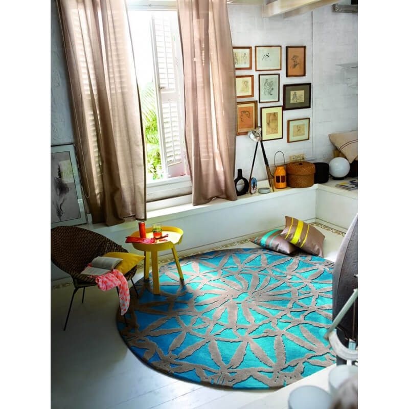 tapis rond turquoise oriental lounge par esprit home. Black Bedroom Furniture Sets. Home Design Ideas