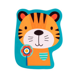 Tapis lavable en machine enfant multicolore antidérapant Tiger