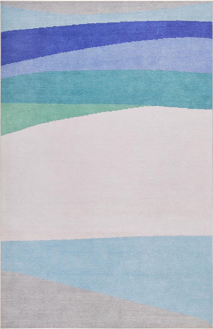 Tapis de salon design bleu graphique Curves Esprit