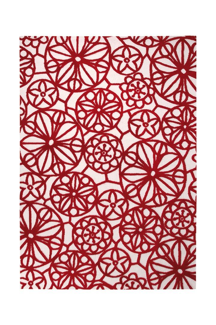 Tapis plat moderne rouge Society Circle par Esprit Home