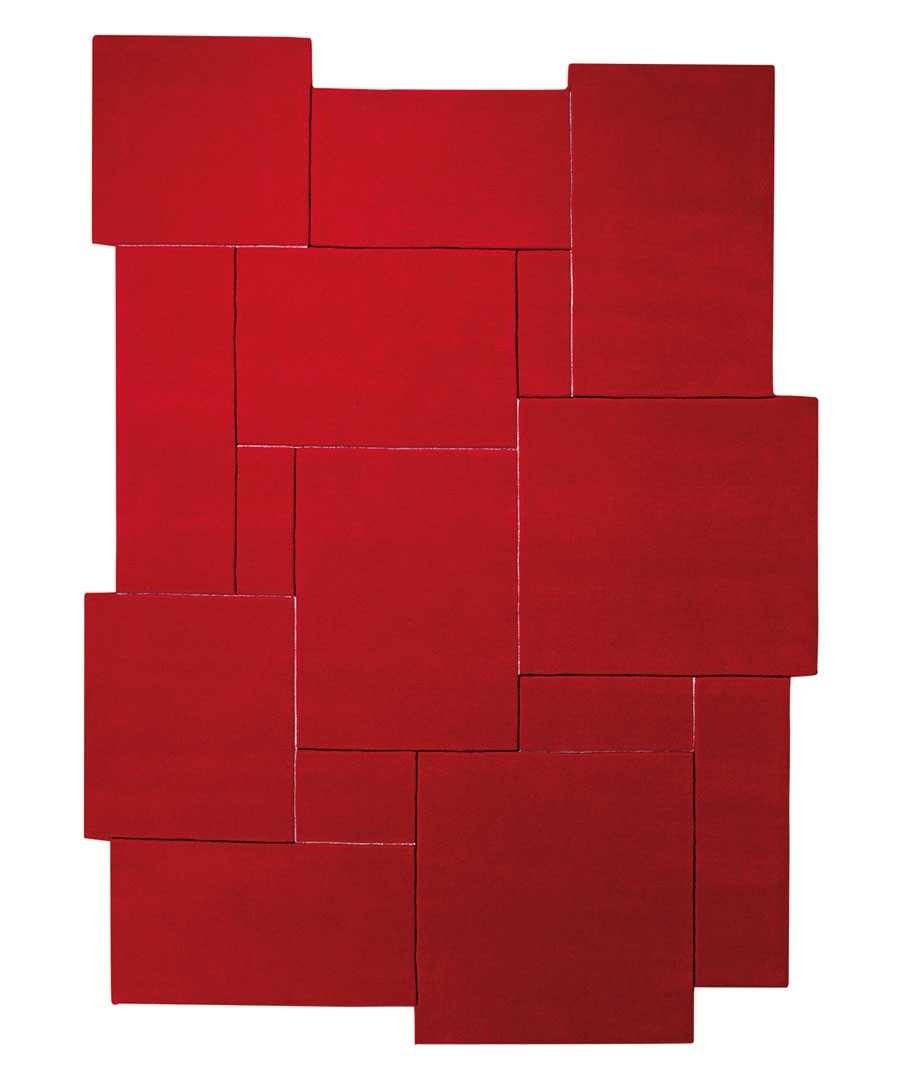 Tapis design tufté main rouge Puzzle par Esprit Home