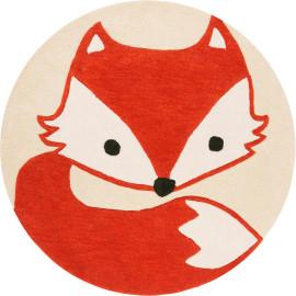 Tapis rond en polyester pour chambre d'enfant orange Fox Esprit