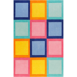 Tapis de chambre enfant carré coloré Domino Day Smart Kids