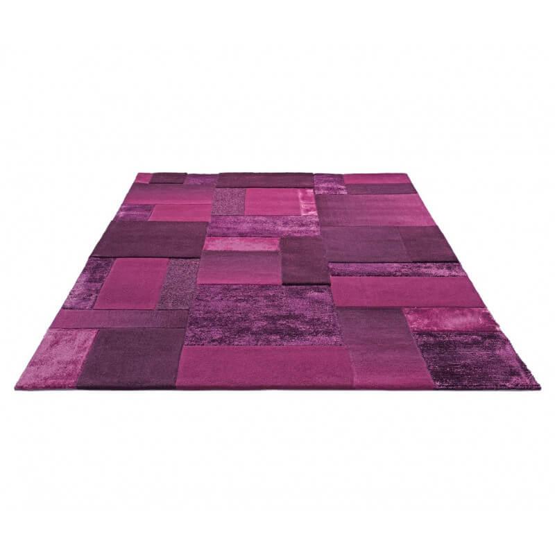 tapis en acrylique et viscose violet patchwork par esprit home. Black Bedroom Furniture Sets. Home Design Ideas
