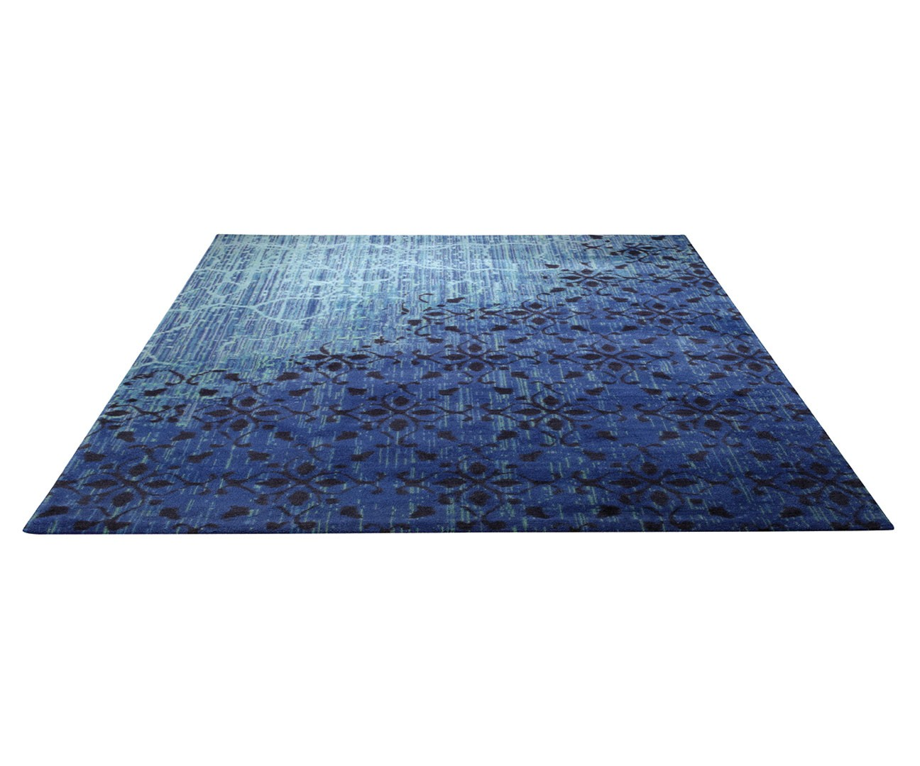 tapis tiss imprim bleu vintage par esprit home. Black Bedroom Furniture Sets. Home Design Ideas