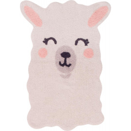 Tapis enfant lavable en machine ivoire Smile Like a Llama Lorena Canals