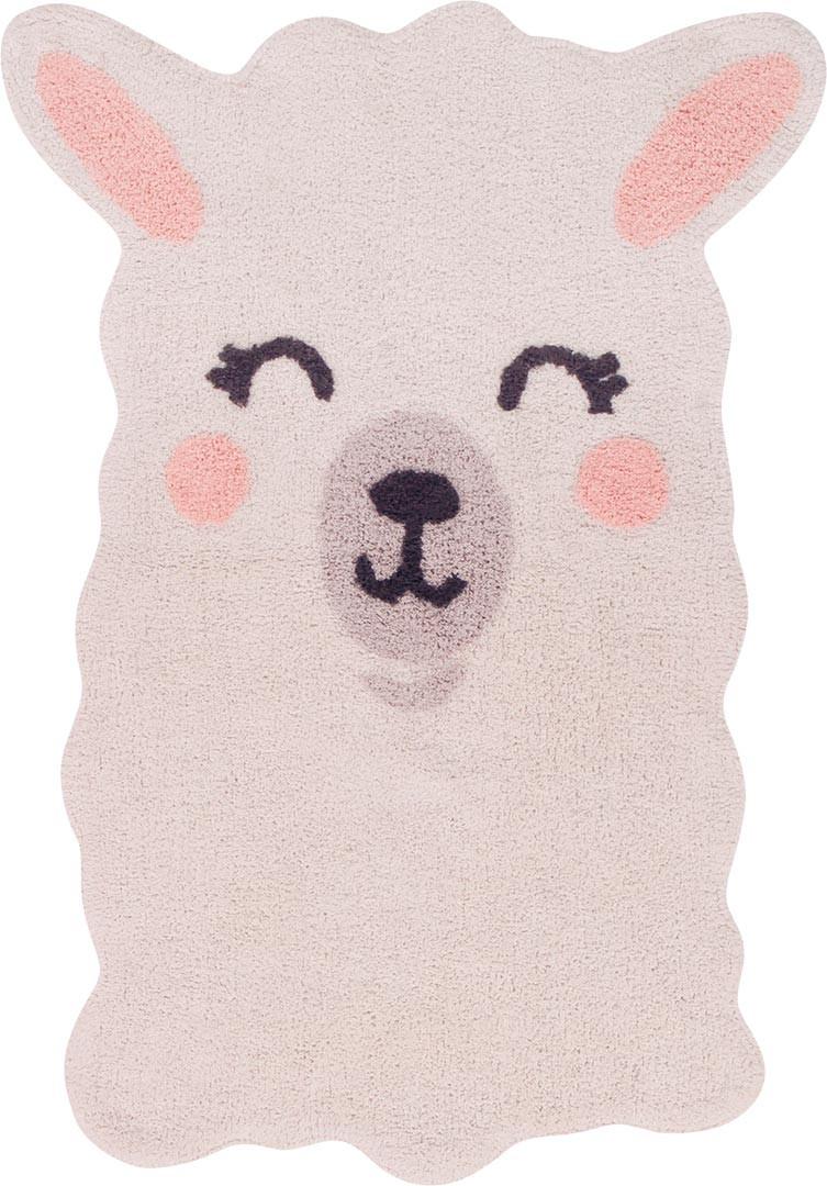 Tapis enfant lavable en machine ivoire Smile Like a Llama Lorena Canals