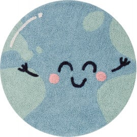 Tapis lavable en machine enfant bleu rond Big Big World Lorena Canals