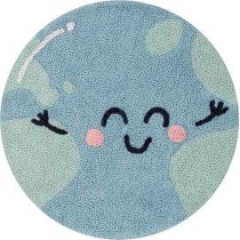 Tapis lavable en machine enfant bleu rond Big Big World Lorena Canals