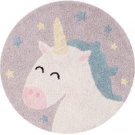 Tapis gris enfant lavable en machine rond Believe in Yourself Lorena Canals