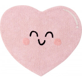 Tapis lavable en machine rose enfant Happy Heart Lorena Canals