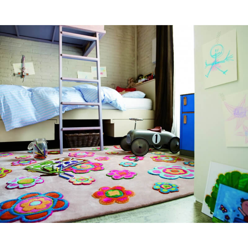 tapis multicolore pour enfant back to flower power par esprit home. Black Bedroom Furniture Sets. Home Design Ideas