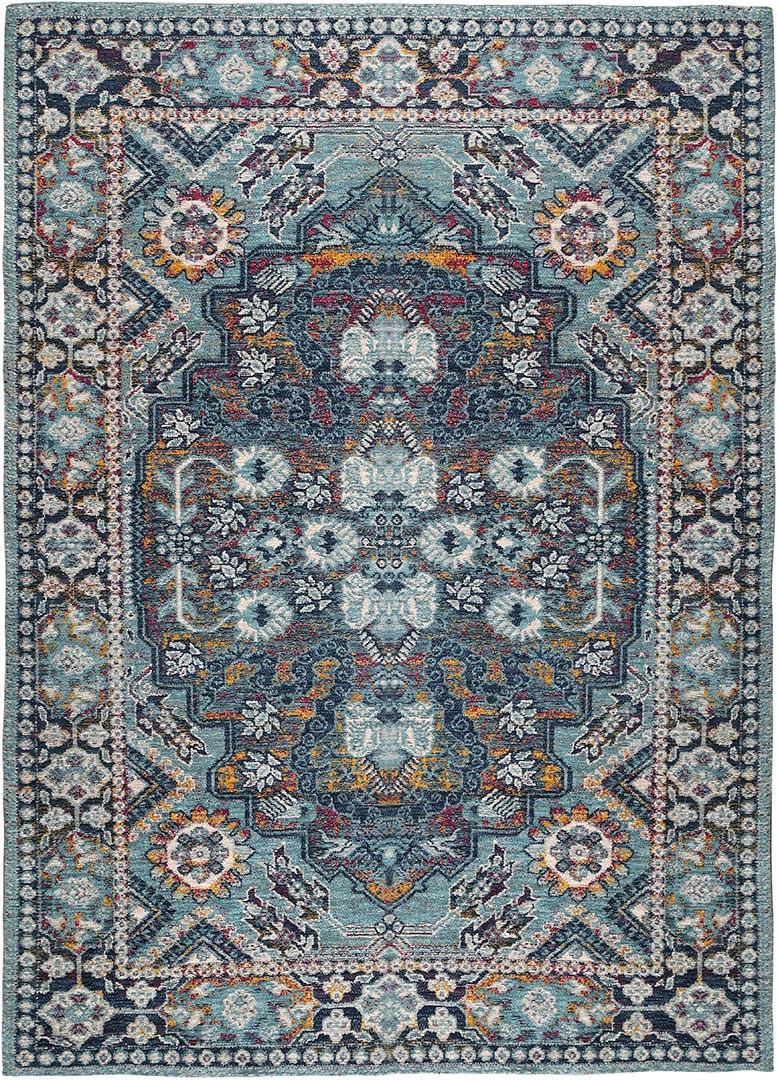 Tapis style orient bleu lavable en machine Aquila