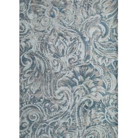 Tapis floral lavable en machine bleu jeans Latina