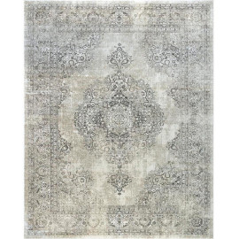 Tapis gris vintage pour salon rectangle rayé Battipaglia