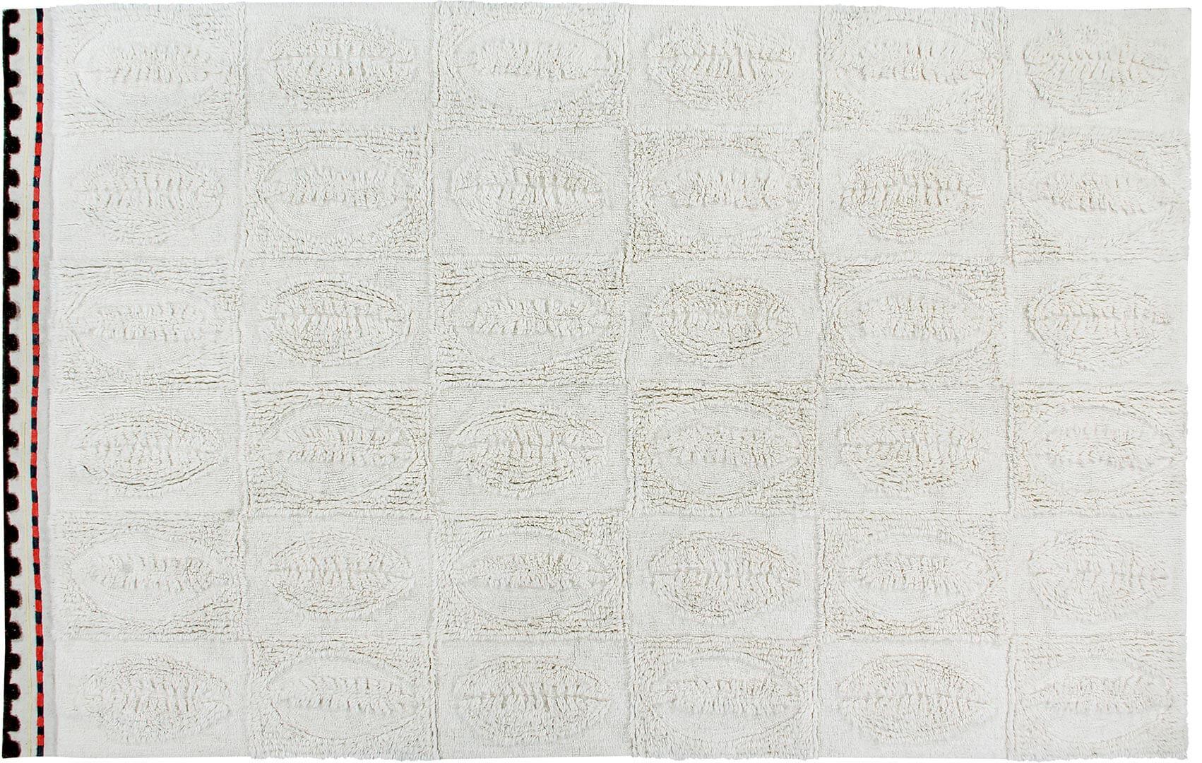 Tapis rectangle en laine ethnique lavable en machine crème Bahari