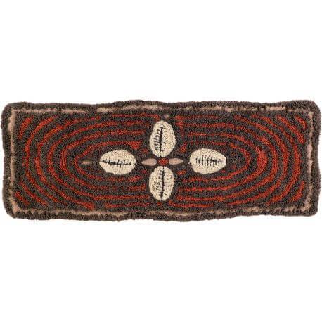 Tapis en laine marron ethnique lavable en machine Bracelet
