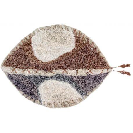 Tapis lavable en machine en laine ethnique crème Kinga