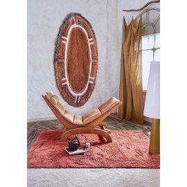 Tapis de salon marron en laine lavable en machine ethnique Naranguru