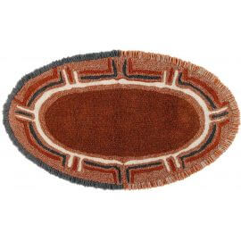 Tapis marron en laine lavable en machine ethnique Karibu
