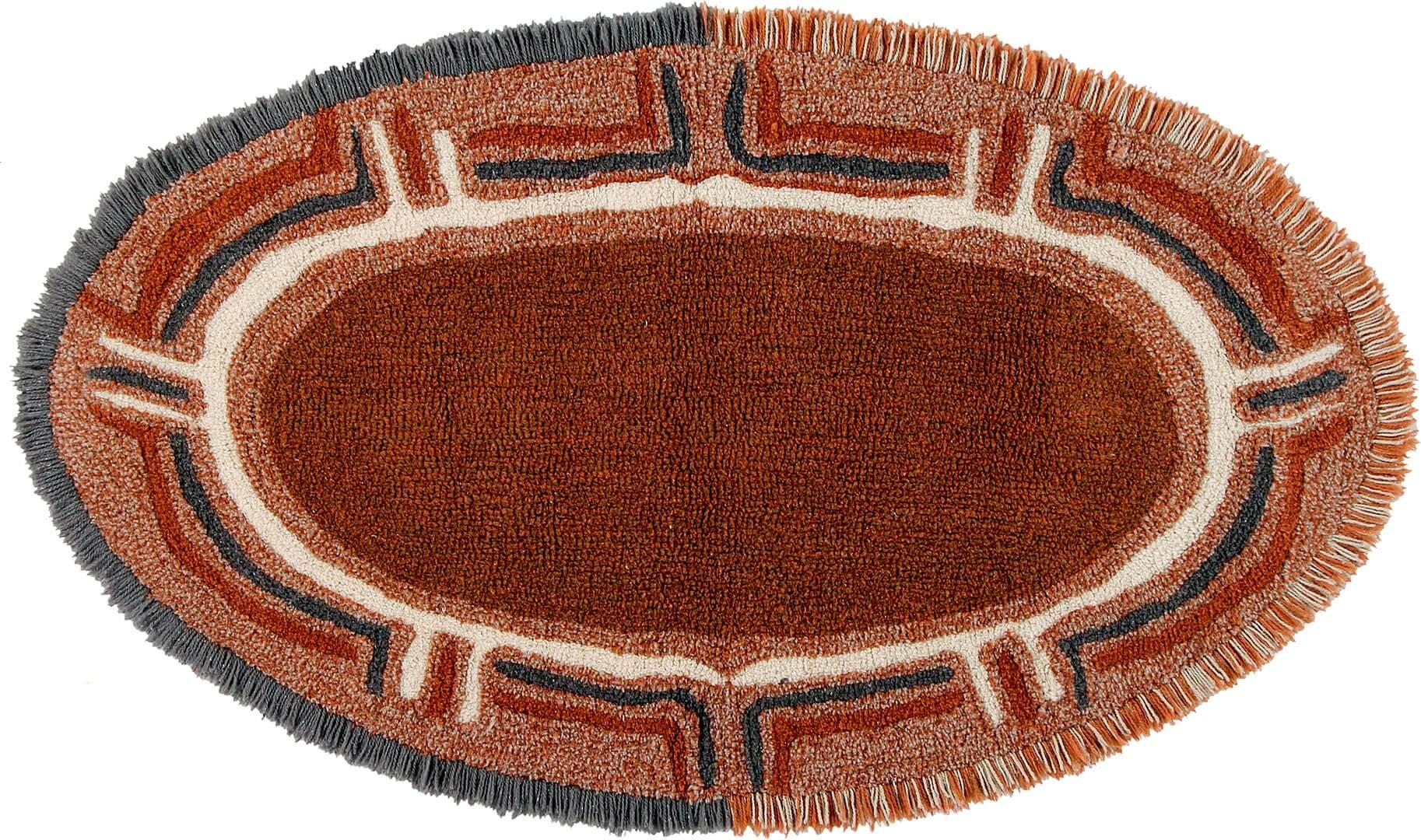 Tapis marron en laine lavable en machine ethnique Karibu