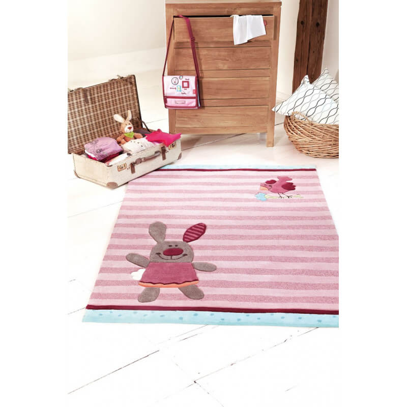 tapis rose pour chambre enfant 3 happy friends stripes 1 sigikid. Black Bedroom Furniture Sets. Home Design Ideas