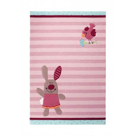 Tapis rose pour chambre enfant 3 Happy Friends Stripes 1 Sigikid