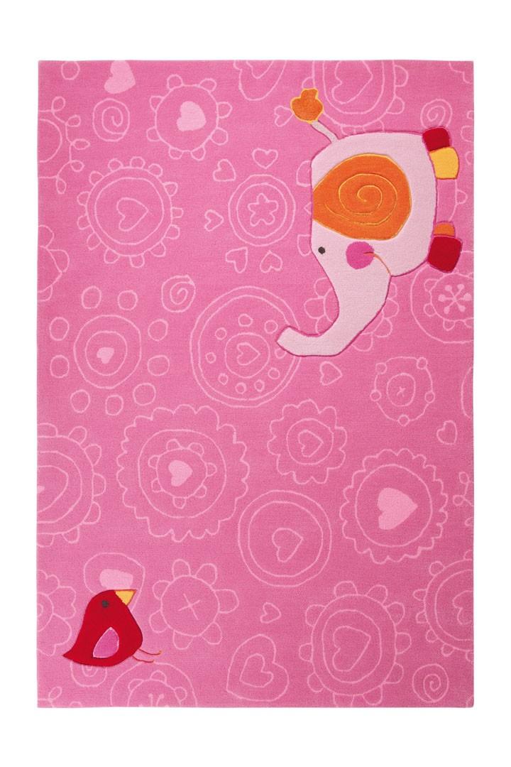 Tapis rose pour chambre de fille happy zoo elephant 1 sigikid - Tapis pour chambre de fille ...