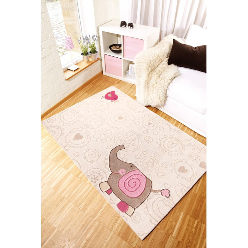 tapis beige pour chambre d 39 enfant happy zoo elephant 2 sigikid. Black Bedroom Furniture Sets. Home Design Ideas