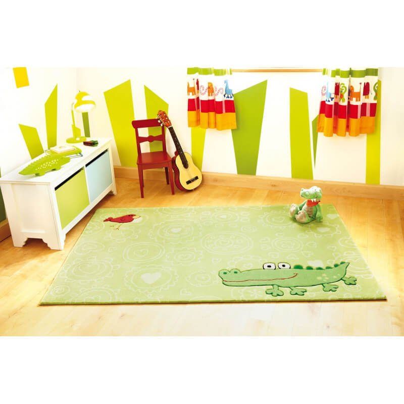 tapis pour chambre enfant vert happy zoo crocodile 1 sigikid. Black Bedroom Furniture Sets. Home Design Ideas