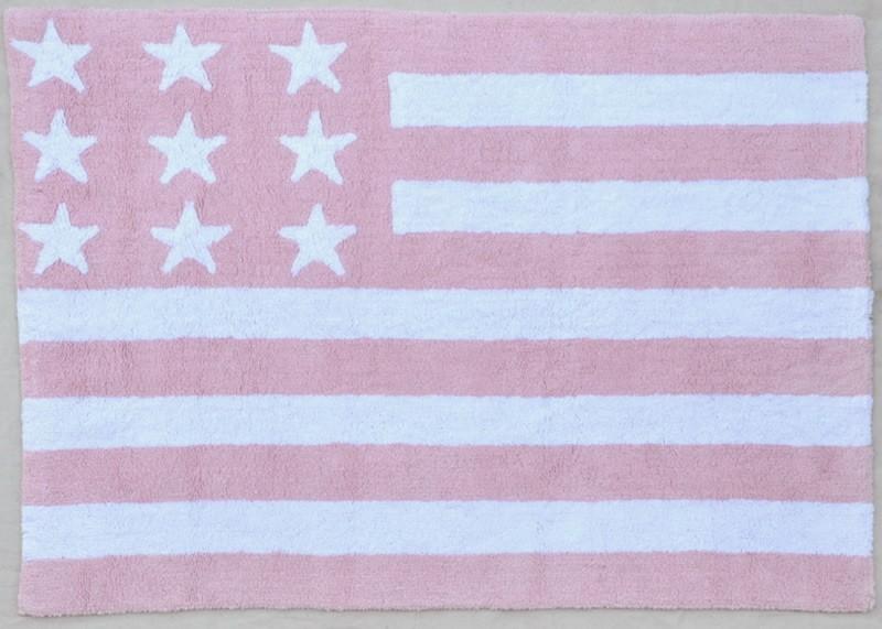 Tapis pour enfant lavable en machine rose Flag américan Lorena Canals
