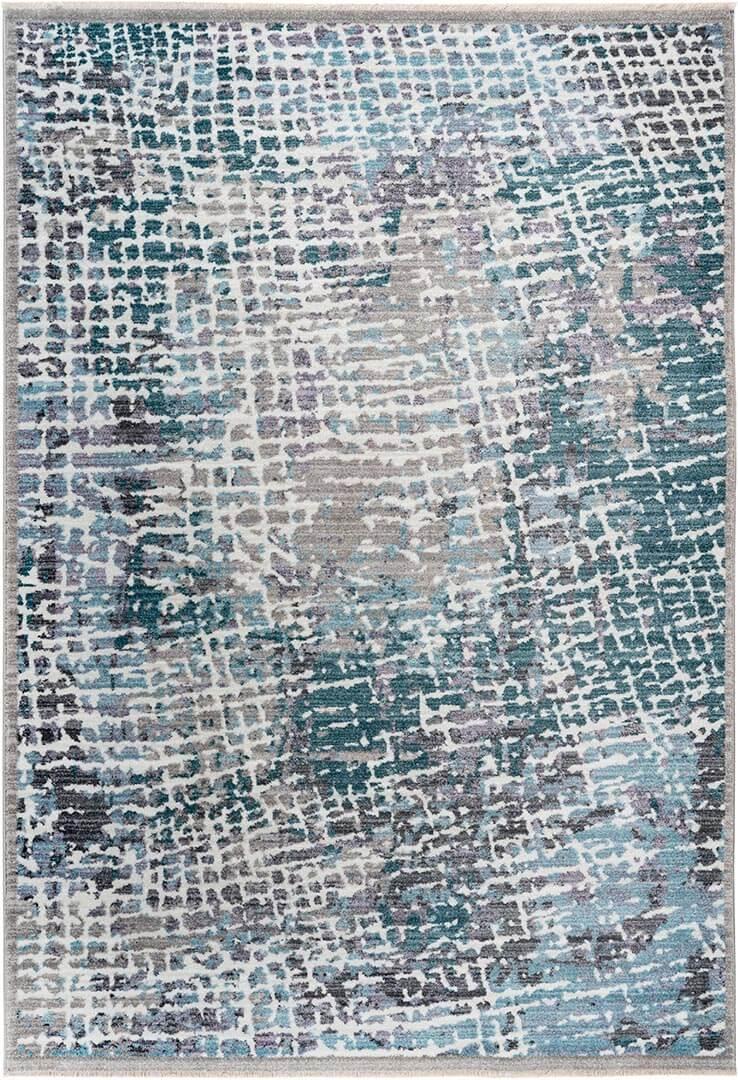 Tapis design avec franges argenté pour salon Trosa