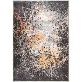 Tapis avec franges doux moderne multicolore rayé Ystad