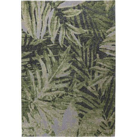 Tapis vert floral plat effet usé pour salon Pacino