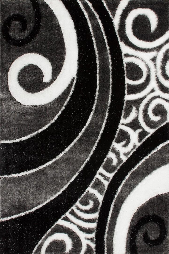 Tapis coloré à longues mèches argenté Celebration III