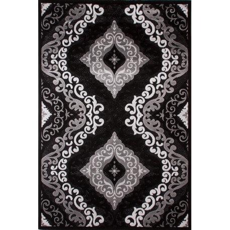 Tapis à motifs baroque noir de salon Jericho II