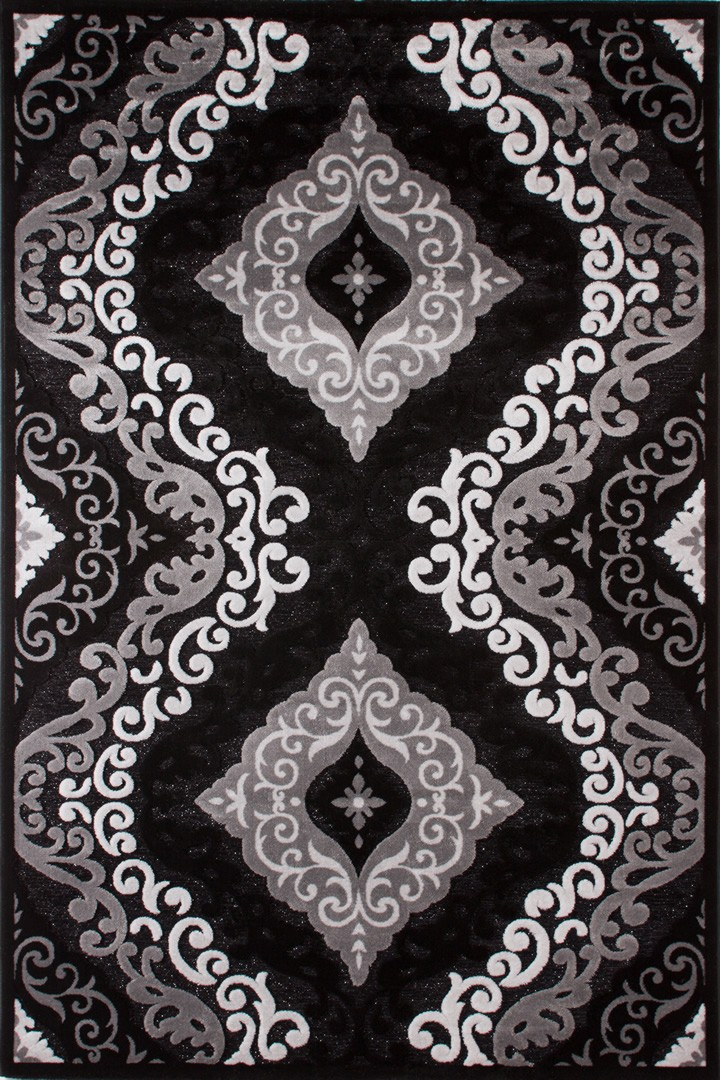 Tapis à motifs baroque noir Jericho II