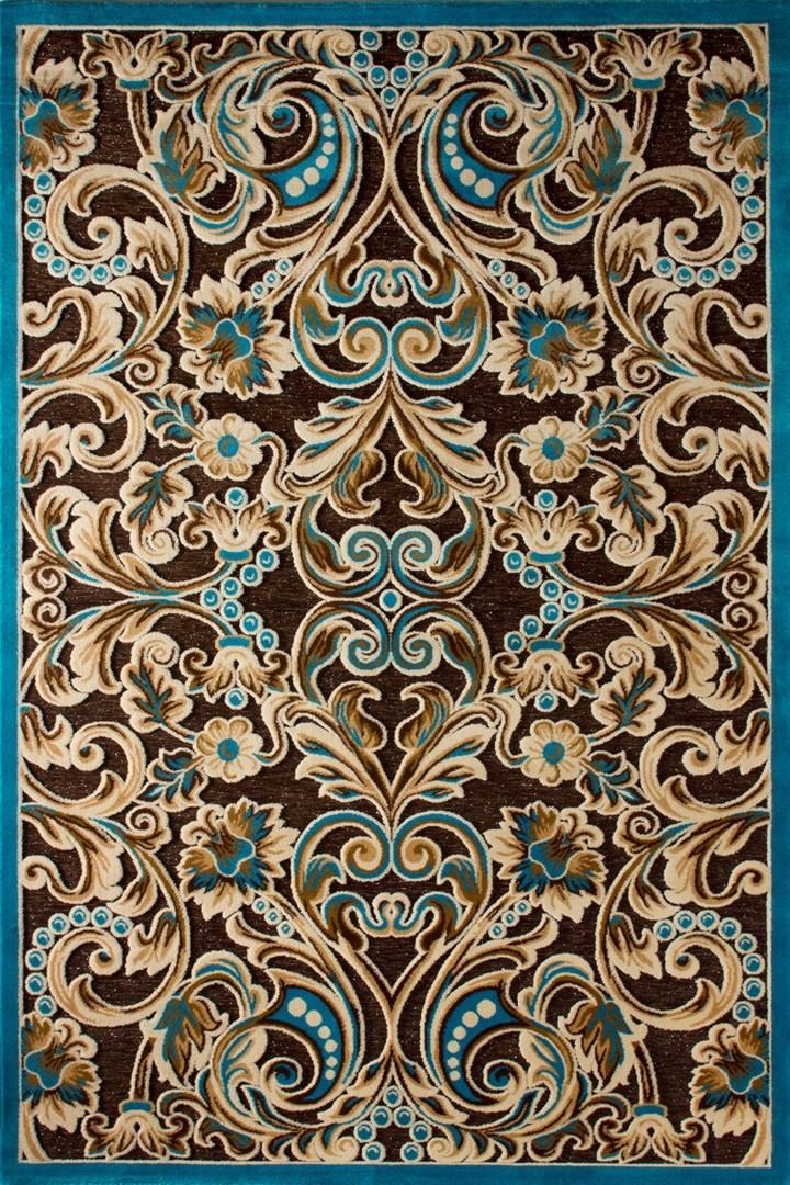 Tapis contemporain aux velours fins turquoise Jericho III