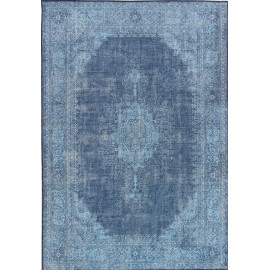 Tapis vintage plat en polyester rayé rectangle Shirak