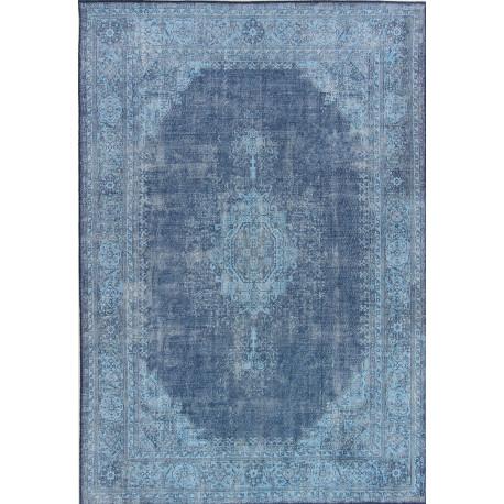 Tapis vintage plat en polyester rayé rectangle Shirak