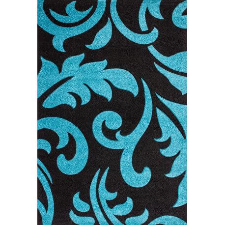 Tapis rectangulaire contemporain en polypropylène turquoise Helvet IV
