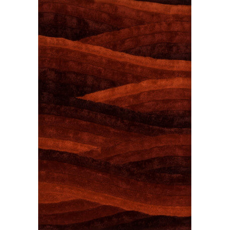 Tapis shaggy fait main en polyester rouge Olymp III Lalee