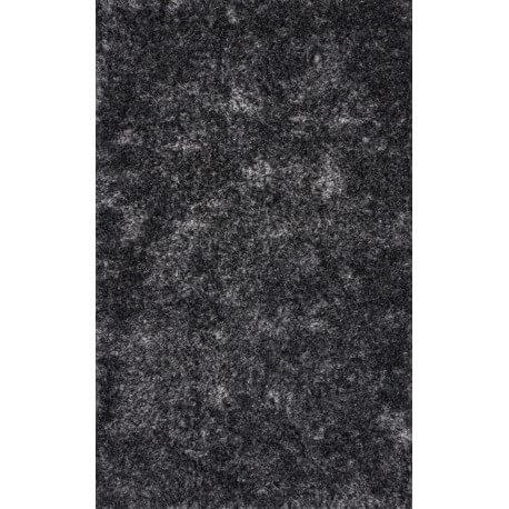 Tapis à longues mèches en polyester noir et blanc Luna Lalee
