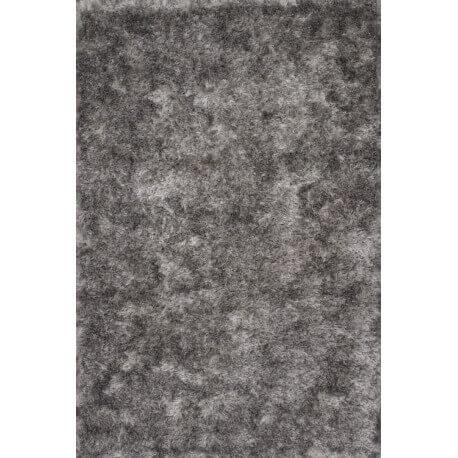 Tapis à longues mèches en polyester argenté Luna Lalee
