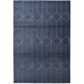Tapis bleu marine scandinave rectangle graphique Leeds